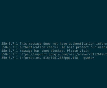 Failed email authentication