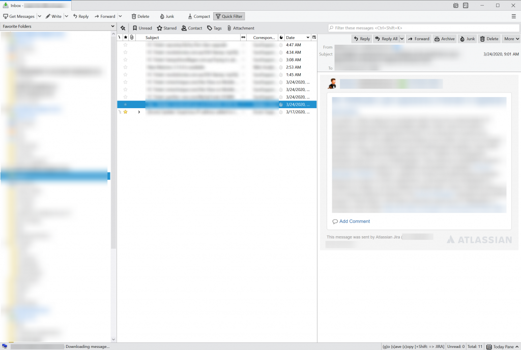 Standard email workflow at ICDSoft - Mozilla Thunderbird, with the Nostalgy plugin. Working with 3 or 4 mailboxes is common at our company.