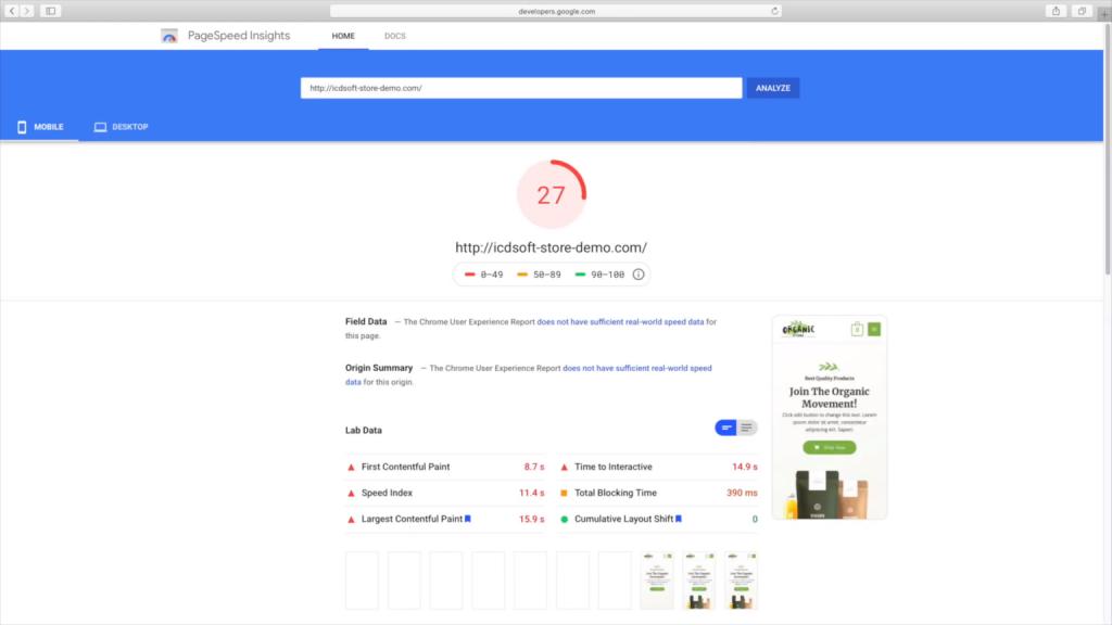 wordpress speed test google psi